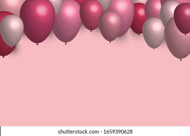 EPS 10 vector. Pink balloons with copy space. Good banner for celebration or sale.