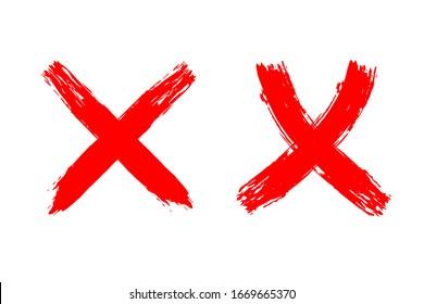 EPS 10 vector. Red brushstroke crosses on white background.