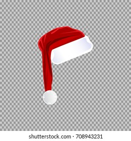 eps 10 vector red Santa's hat isolated on transparent background. Editable object for holidays design. Happy New Year, Merry Christmas template. Mock-up for greeting card, discount banner, web, print