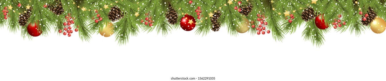 EPS 10 vector seamless background concept with fir branches and cones, golden star garlands and hanging red, golden and green christmas baubles and fall of snow