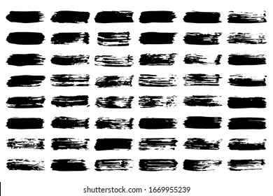 EPS 10 vector. Set of black brushstrokes. Good collection of brushes.