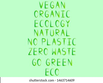 EPS 10 vector. Set of green headlines on zero waste theme.