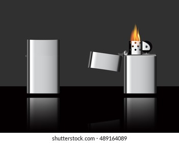 eps 10 vector set of lighter and lighter with burning flame on black background with mirror reflection