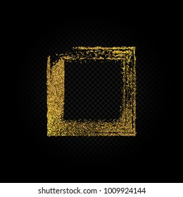 Eps 10 vector shiny golden glitter textured square frame decoration design isolated on dark transparent background