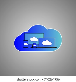 eps 10 vector storage cloud icon sign isolated. Digital memory store device symbol. Computer, laptop, mobile, phone, notebook, tablet, smartphone gadgets memory depository. Graphic design clip art