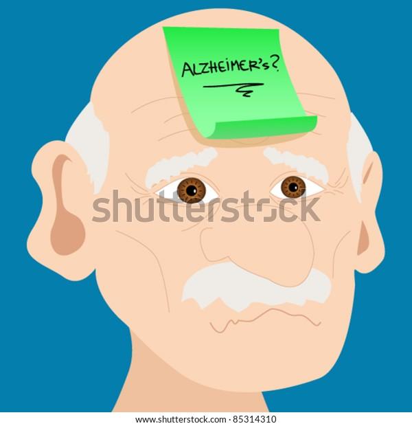 Eps 10:Memory Loss Or Mental Illness Concept: Cartoon Of