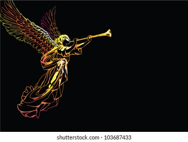 EPS 8/ Angel with trumpet - outline on a black background