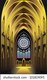 EPS 8/ The architectural background - black and gold. Imagination in Gothic style