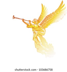 EPS 8/ The golden Angel with a trumpet - on a white background