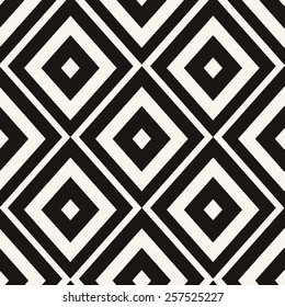 Eps 8 seamless pattern. Ethnic tribal zig zag and rhombus seamless pattern. Vector illustration for beauty fashion design. Black white colors. Vintage stripe style.