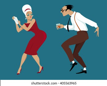 EPS 8 vector illustration of a couple dressed in 1960s fashion dancing and mixing cocktails, no transparencies