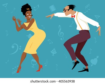 EPS 8 vector illustration of a mixed-race couple dressed in 1960s fashion dancing, no transparencies