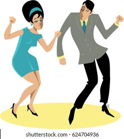 EPS 8 vector illustration of a stylish couple dressed in 1960s fashion dancing the Twist, no transparencies
