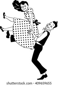 EPS 8 vector silhouette of a young couple dressed in vintage fashion performing a rock and roll lift, no white objects