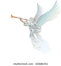 EPS 8/ White Angel with trumpet - on a white background