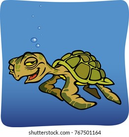 eps fun Sea Turtle Cartoon Vector Illustration swimming under blue sea