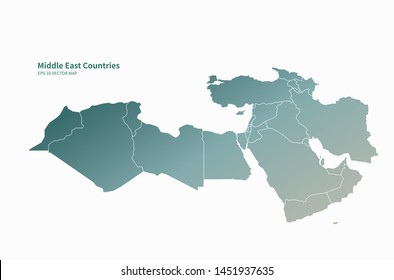 eps graphic vector map of middle east country