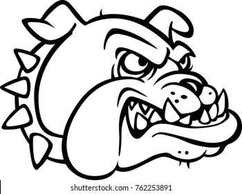 eps Illustration/Clip-art of the head of a Bulldog Animal pet in Black and White