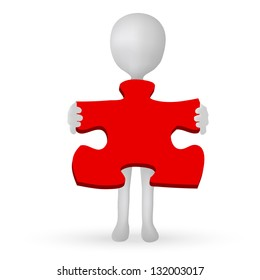 EPS Vector 10 - small 3d man hands holding a puzzle