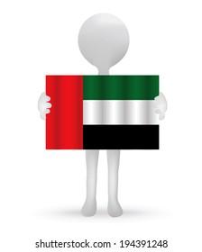 EPS Vector 10 - small 3d man holding a UAE flag