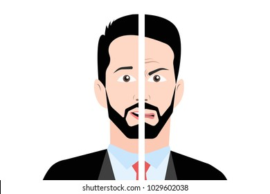Eps vector illustration of halves of brunet man in suit with angry and happy face. Double personality, bipolar disorder concept.