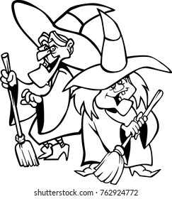 eps Vector illustration of a pair of Witches Cartoon Characters