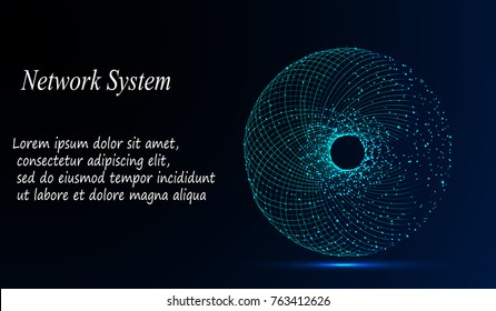 EPS10. Abstract Background with Dots Array and Lines. Connection Structure. Geometric Modern Technology Concept. Digital Data Visualization. Social Network Graphic Concept