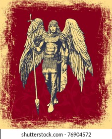 EPS10,  Archangel - elegant hand-drawn card on a red background (vector)