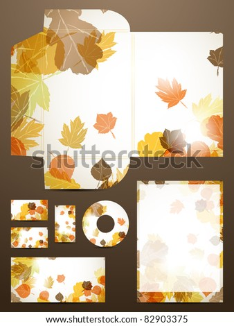 eps 10 autumn stationery set fall abstract stock vector royalty
