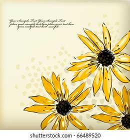 eps10 background with bright yellow camomiles