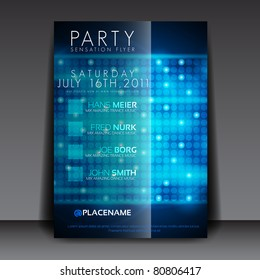 EPS10 Blue Circles for Party Flyer Design Vector Illustration