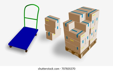 eps10. Closed box, delivery of boxes with fragile signs on wooden pallet and storage trolley, isolated on white background vector illustration.