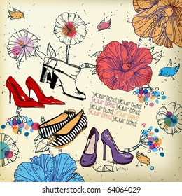 eps10 fantasy background with colored shoes, flowers,birds and berries