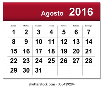 EPS10 file. Spanish version of August 2016 calendar. The EPS file includes the version in blue, green and black in different layers