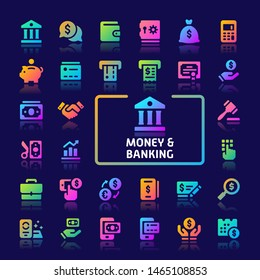 EPS10 gradient vector icons related to money and banking. Symbols such as money, banking and financial are included in this set.