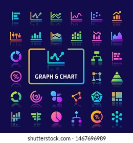 EPS10 gradient vector icons related to graph & chart used in statistic and infographic. Symbols such as bar, line, pie, & scatter graphs are included.