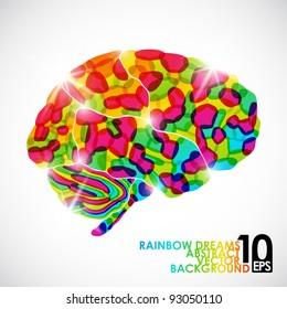 eps10, human brain, rainbow dream, vector abstract background
