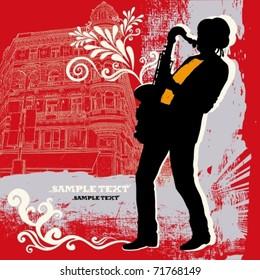 EPS10, Saxophonist on a grunge background