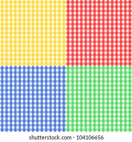 EPS10: Seamless pattern made of four colorful gingham pattern in yellow, red, blue and green, to be used together or separately.