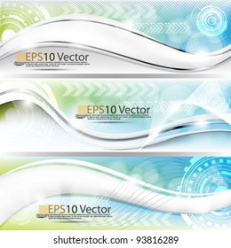 eps10 set of abstract futuristic technology banner design background