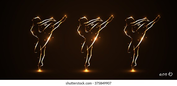 Eps10. Silhouette of three ballerinas, dancers in movement on pointe and in packs, tutu. Drawn by hand with a stroke of golden color with light on a black background. Performance in the theater Vector
