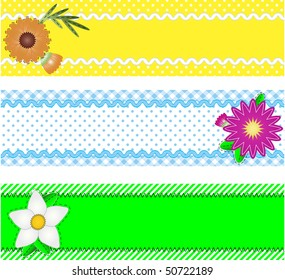 Eps10.  Three vector borders with copy space, flowers, stripes, gingham and dots in green, blue, yellow, white while containing quilting stitches and ric rac.