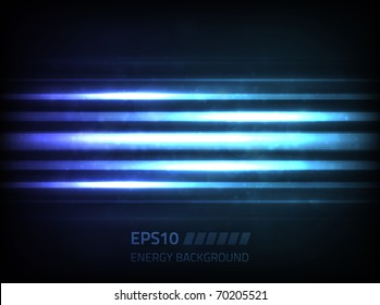 EPS10 vector abstract energy lines design against dark background, colored blue