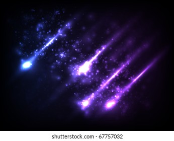 EPS10 vector abstract falling stars design against dark background; composition is colored in shades of violet and blue