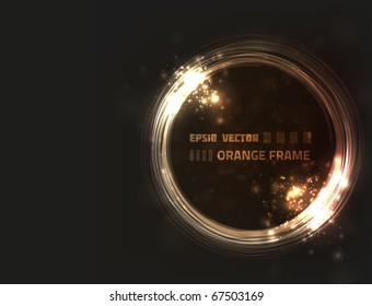 EPS10 vector abstract orange frame design against dark background with slight texture