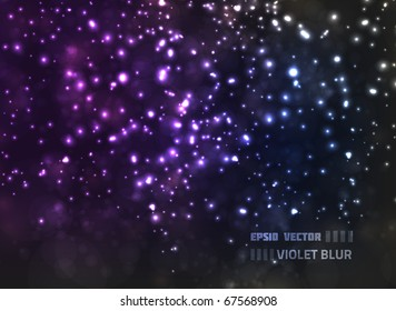 EPS10 vector abstract violet blur design against dark background; composition has bright lights and blurry particles