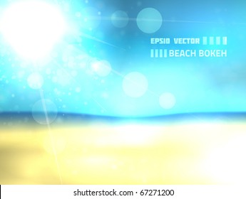 EPS10 vector beach design against bright background; composition is mostly colored in shades of blue and yellow