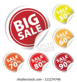 EPS10 Vector: Big Sale tags with Sale up to 50 - 90 percent text on circle tags