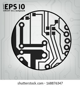 EPS10 vector black and gray circuit circle ball background