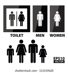 EPS10 Vector: Black Square Toilet Sign with Toilet, Men and Women text